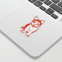 Orange and White Cat Sticker by Artist Abigail
