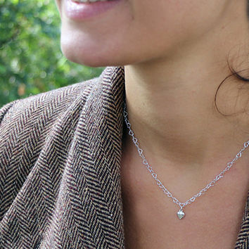 Tiny  silver heart pendant necklace , sterling silver heart , valentine's day gift