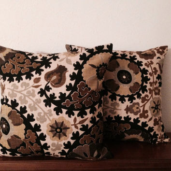 Decorative-Accent-Throw - Pillow Cover-Free US Shipping- Set of Two 20 inch Paisley Black, Chocolate Brown,Light Brown Cream