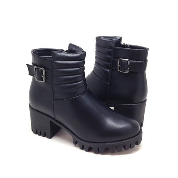 Black Vegan Leather Short Boot with Quilt Design and Chunky Heel