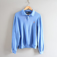 Ralph Lauren Polo Sweater Pastel Blue 100% Pima Cotton Long Sleeves Polo Shirt Pullover Unisex Knit Polo Minimalist Vintage 90s Size L - XL