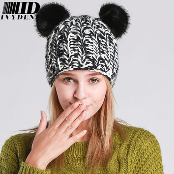 Fashion 2016 New Winter Hats For Women Beanies Pompom Knitted Hat Cute Panda Mickey Beanies Hat Cotton Warm Hat With Cat Ears