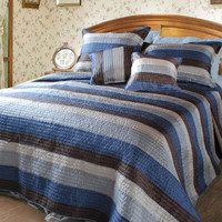DaDa Bedding Reversible Striped Satiny Quilt Set, King, Twin, Queen, Blue, 3-5 Pieces (DXJ101061)