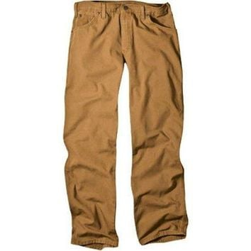 "Dickies 1939RBD3830 Men's Relaxed Fit Carpenter Duck Jeans, 38"" x 30"", Brown"