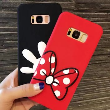 3D Cartoon Soft Silicone Case for Samsung GALAXY S6 S7Edge Plus Mickey Minne Mouse Bow&Hand Rubber Cover for Galaxy S8 shell