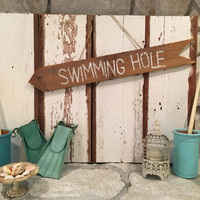 Swimming Hole Sign Beach Pool Summer Rustic Shabby Chic Cottage Wall Decor Barn Wood Sign Pool Sign Photo Prop Personalized Customized