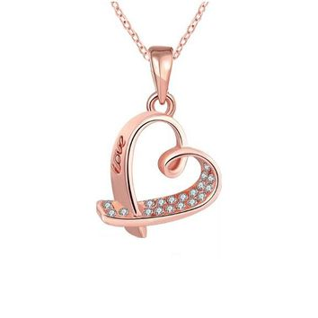 Rose Gold Rhinestone Choker Pendant Necklace