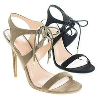 Adele223 By Wild Diva, Open Toe Strappy Lace Tie Up Stiletto Heel Pumps
