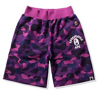 Bape Aape Summer Fashion New Letter Print Camouflage Women Men Shorts Purple