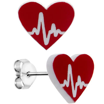EKG Make My Heartbeat Race Red Heart Stud Earrings