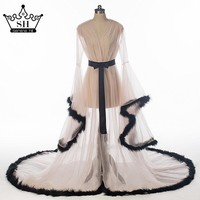 Ostrich Feathers  Long Robes With Fur  Wedding Dress 2017