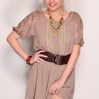 Taupe Sheer Chiffon Crochet Sleeves Sexy Party Dress
