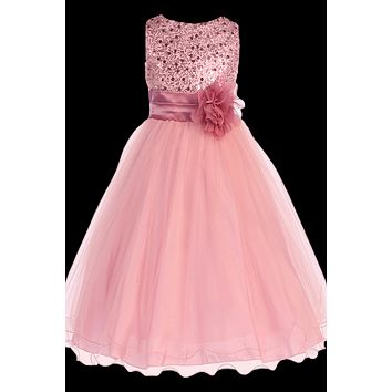Rose Pink Sequined Bodice Dress with Lettuce Hem Tulle Skirt Girls 2T-14