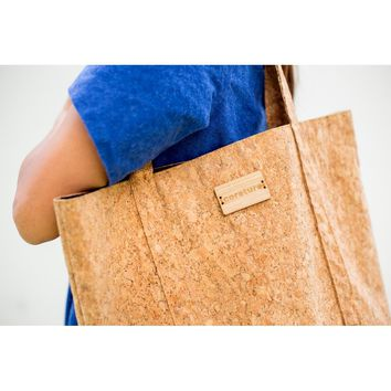 Corature Cork Tote with Bamboo Logo