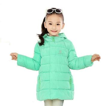 New Brand 2016 Kids Girls Winter Jacket Fashion Lightweight Outwear kids Warm Long Coat Down & Parkas Free Shipping