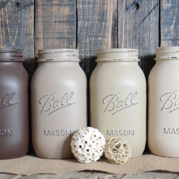 Shabby Chic Painted Mason Jars - Set of 4 - Neutrals - Browns - Vase - Centerpiece