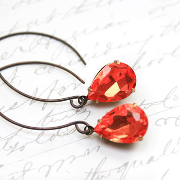Orange Glass Earrings Dangle Earrings Tangerine Coral Glass Drops Antique Gold Brass Vintage Style Teardrop Bright Modern Accessories