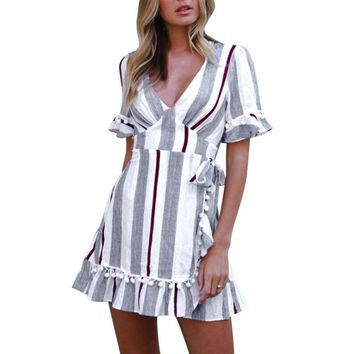Women Striped Dress Sexy Deep V-Neck Short Sleeve Ruffled Bow Waist Dreses Summer Flare Sleeve Cute Tassel Dress #BF