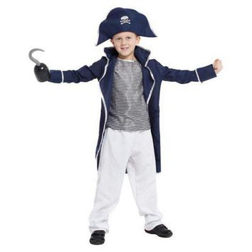 DCCKH6B Skeleton King Pirate Cosplay Costume For Boys Kids Halloween Pirate Captain Show's Clothing Long Coat+Tops+Trousers+Hat M-XL