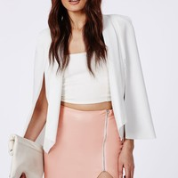 Missguided - Faux Leather Asymmetric Zip Detail Mini Skirt Dusky Pink