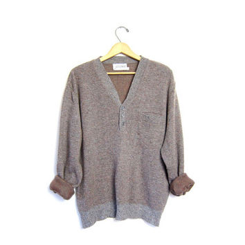 Slouchy henley sweater speckled gray boyfriend sweater Nerd Grandpa Button front pocket knit sweater Mens XL