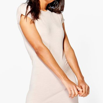 Taylor Curved Hem Roll Sleeve TShirt Dress | Boohoo