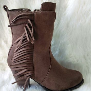 Women's Taupe Mid-Calf Boot with Fringe Detail