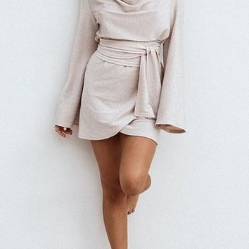 Casual Apricot Sashes Pleated Long Sleeve Mini Fashion Dress