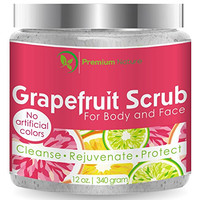Grapefruit Scrub For Face & Body 12 Oz, 100% Natural Facial Cleanser With Sea Salt and Essential Oils - Clears Acne , Exfoliates, Moisturizes, Radiant Skin Complexion, By Premium Nature