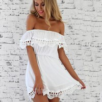 Kelsey White Off Shoulder Dress