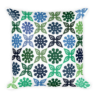 Green and Blue Patterned Square Pillow