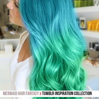 Aqua BLUE to Mint GREEN Ultimate MERMAID //  Human Hair Wig or Clip In Extensions // 18 Inches