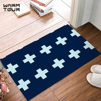 Autumn Fall welcome door mat doormat Modern Dark Light Blue Bold Plus Sign s Kitchen Floor Bath Entrance Rug Mat Indoor Bathroom Decor s Rubber AT_76_7