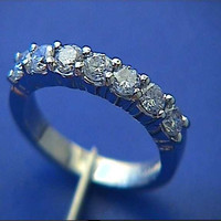 0.52ct Round Diamond Wedding Ring 18kt White Gold JEWELFORME BLUE