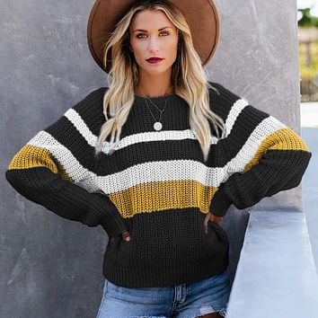 Oversized Crewneck Colorblock Knit Sweater