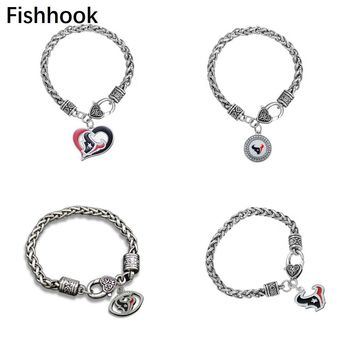 Fishhook Vintage enamel Houston Texans football fans bracelet jewelry for men or women