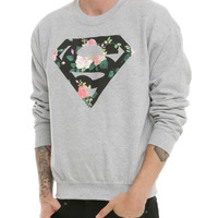 DC Comics Superman Floral Logo Crewneck Sweatshirt