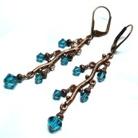 Antique Copper Branch-Swarovski Indicolite Crystal Chandelier Earrings