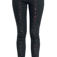 Trendy Black Lace-Up Bodycon Pencil Jeans For Women
