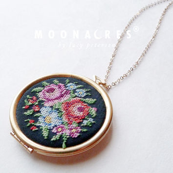 "vintage 36"" gold filled chain long locket necklace floral petit point needle point embroidery round gold brass by moonacres birthday gift"