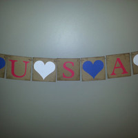 Patriotic Hearts and USA Banner , 4th of July Banner,USA Banner ,USA Bunting,Red White and Blue Banner,4th of July Decor, Patriotic Bunting