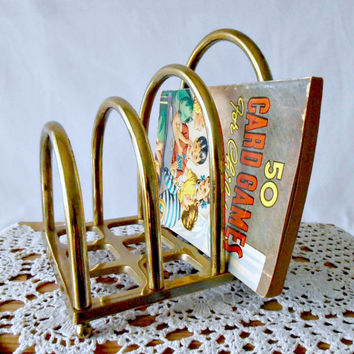 Mid Century Modern Brass Letter Holder, Mail Organizer, Desk Accessory 1970s Mod Style Mail Bill Sorting Rack, Hollywood Regency File Holder