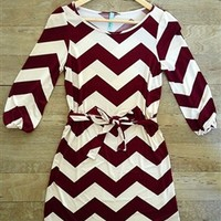 Maroon and white zig zag dress