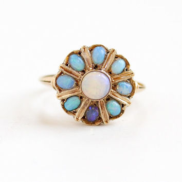 Antique 10k Yellow Gold Blue Opal Cluster Flower Ring - Vintage 1930s Fiery Gemstone Fine Jewelry Hallmarked Copley