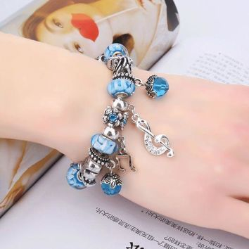 PEAPON6V Creative DIY jewelry couple crystal fruit beaded bracelet