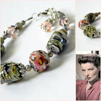 Kate Pink Olive Lampwork bracelet Pink Earth tone Marbled Classic bracelet  Womens Glass beads bracelet Pink Lampwork bracelet