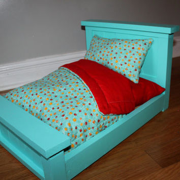Teal & Red American Girl Doll Bedding Set