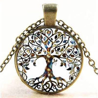 Cabochon Glass Pendant Tibet Silver Tree of Life Chain Necklace [8802097036]