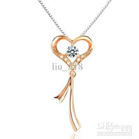 925 sterling silver necklace female color gold -plated heart-shaped necklace pendant 0.5kt