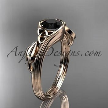 14kt rose gold diamond celtic trinity knot wedding ring, engagement ring with a Black Diamond center stone CT7324